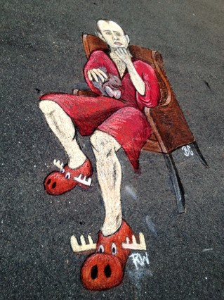 Chalk Art Drawing on Blacktop Driveway